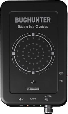 Мощный динамик, который создает речеподобную помеху, расположен на верхней панели блокиратора BugHunter DAudio bda-2 Voices