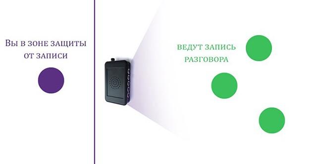 Чтобы защитить вашу беседу от записи, просто направьте блокиратор в ту сторону, где могут находиться диктофоны