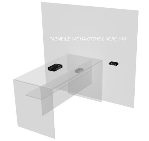 Пример комбинированного использования подавителя с двумя внешними УЗ-колонками (одна закреплена на стене, а вторая — под столом)