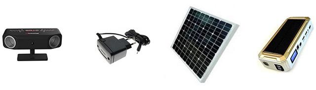 Прибор может питаться от электросети через адаптер, от солнечной панели с аккумулятором или от автомобильного пускозарядного устройства с внешним портом на 5 В